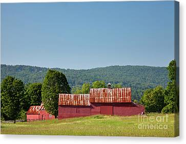 Canvas Print featuring the photograph Red Barn Near Quechee by Susan Cole Kelly