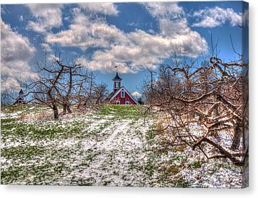 Red Barn On Farm In Winter Canvas Print