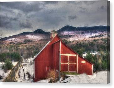 Red Barn In Winter Canvas Print - Red Barn On Old Farm - Stowe Vermont by Joann Vitali