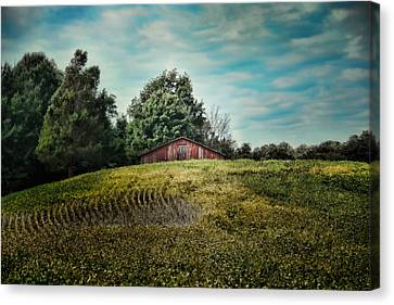 Red Barn On The Hill Canvas Print by Jai Johnson