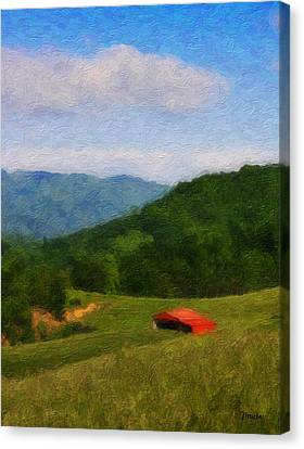 Red Barn On The Mountain Canvas Print by Teresa Mucha