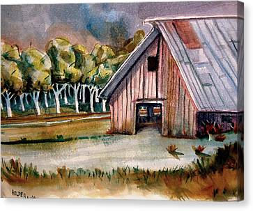 Red Barn Canvas Print by Steven Holder