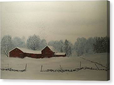 Canvas Print featuring the painting Red Barn Storm by Ken Ahlering