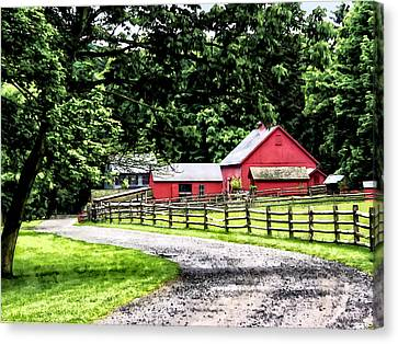 Red Barn Canvas Print by Susan Savad