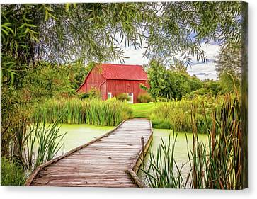 Alga Canvas Print - Red Barn by Tom Mc Nemar