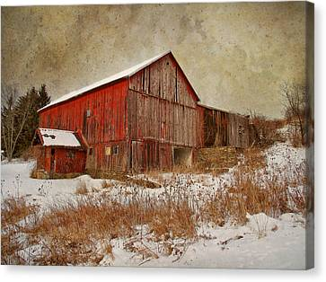 Pennsylvania Barns Canvas Print - Red Barn White Snow by Larry Marshall