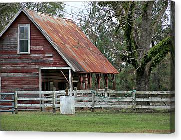 Red Barn With A Rin Roof Canvas Print by Lynn Jordan