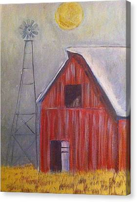 Red Barn With Windmill Canvas Print by Belinda Lawson
