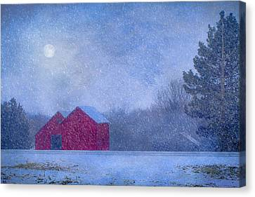 Snowy Night Canvas Print - Red Barns In The Moonlight by Nikolyn McDonald