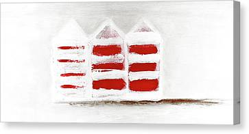 Canvas Print featuring the painting Red Beach Huts by Frank Tschakert