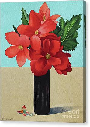 Blue Begonia Canvas Print - Red Begonias by Christopher Ryland