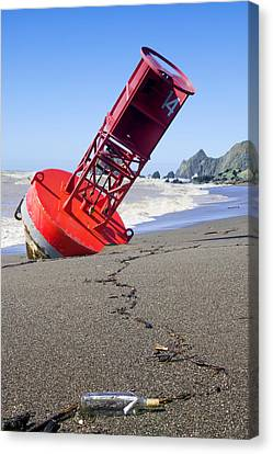 Sonoma Coast Canvas Print - Red Bell Buoy On Beach With Bottle by Garry Gay