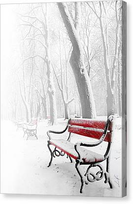 Frosty Canvas Print - Red Bench In The Snow by  Jaroslaw Grudzinski