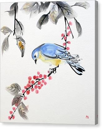 Red Berries Blue Bird Canvas Print