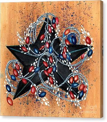 Red Berries De Vine - Black Star Canvas Print