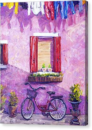 Red Bike, Burano, Italy Canvas Print by Steven Boone