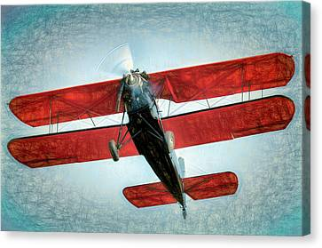 Canvas Print featuring the photograph Red Biplane by James Barber
