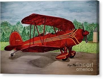 Red Biplane Canvas Print