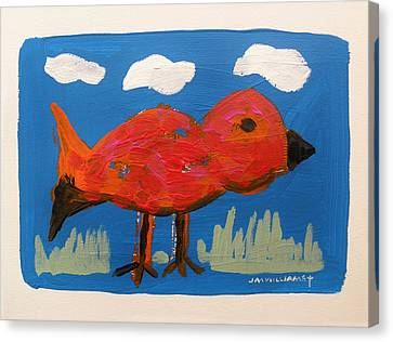 Red Bird In Grass Canvas Print by John Williams
