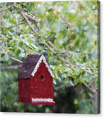 Red Birdhouse Painterly Effect Canvas Print by Carol Leigh