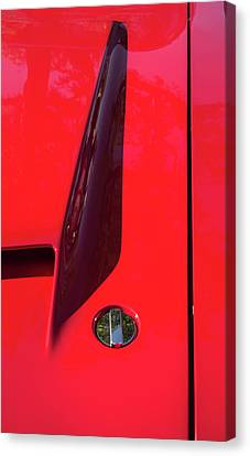 Canvas Print featuring the photograph Red Black And Shapes On Hot Rod Hood by Gary Slawsky