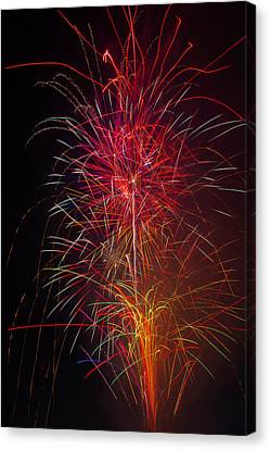 Red Blazing Fireworks Canvas Print by Garry Gay