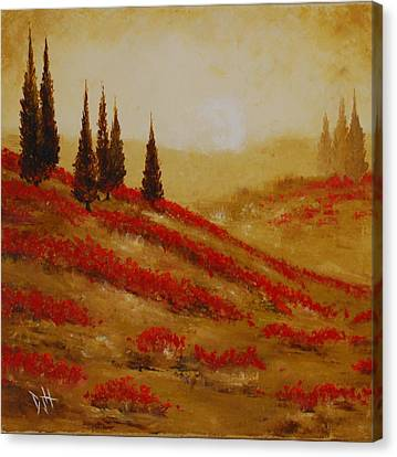 Red Blooms At Dawn Canvas Print by Debra Houston
