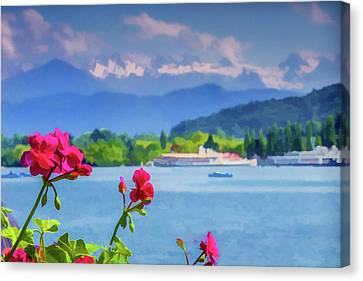 Red Blooms In Lucerne Canvas Print by Lisa Lemmons-Powers