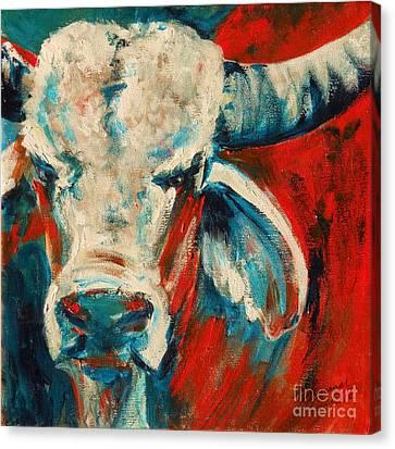 Red-blue Brahma Bull Canvas Print by Summer Celeste