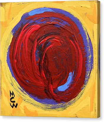 Canvas Print featuring the painting Red Blue Moon On Yellow by Mary Carol Williams