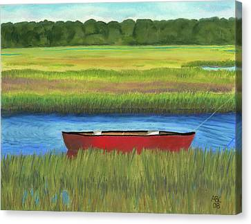 Red Boat - Assateague Channel Canvas Print by Arlene Crafton