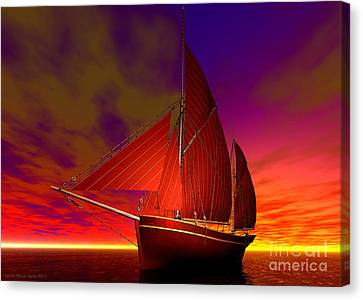 Red Boat At Sunset Canvas Print