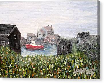 Canvas Print featuring the painting Red Boat In Peggys Cove Nova Scotia  by Ian  MacDonald