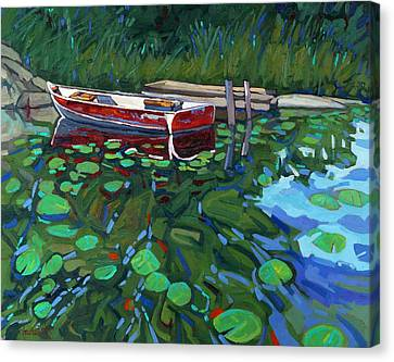 Red Boat Canvas Print by Phil Chadwick
