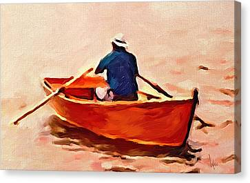 Red Boat Painting Little Red Boat Small Boat Painting Old Boat Painting Abstract Boat Art Countrysid Canvas Print