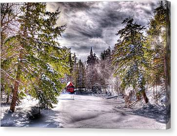 Canvas Print featuring the photograph Red Boathouse After The Storm by David Patterson