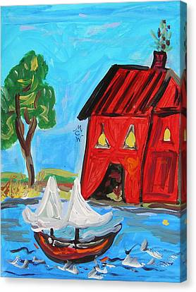 Red Boathouse And Red Sailboat Canvas Print by Mary Carol Williams