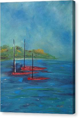 Canvas Print featuring the painting Red Boats by Judith Rhue