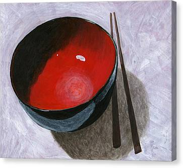 Red Bowl And Chop Sticks Canvas Print by Karyn Robinson