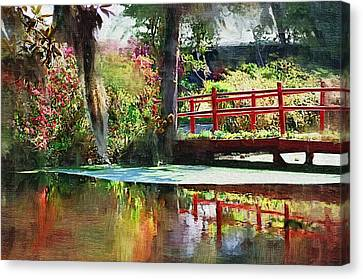Canvas Print featuring the photograph Red Bridge by Donna Bentley