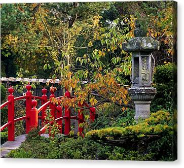Red Bridge & Japanese Lantern, Autumn Canvas Print
