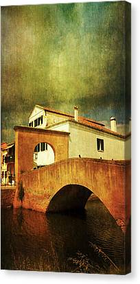 Canvas Print featuring the photograph Red Bridge With Storm Cloud by Anne Kotan