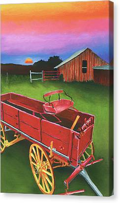 Red Buckboard Wagon Canvas Print