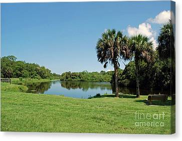 Canvas Print featuring the photograph Red Bug Slough by Gary Wonning