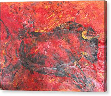 Canvas Print featuring the painting Red Bull by Koro Arandia