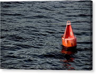 Red Buoy Marked With Number Eight Canvas Print