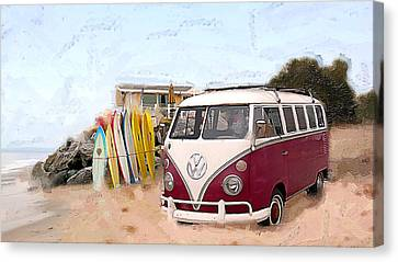 Red Bus And Lightening Bolts Canvas Print by Ron Regalado