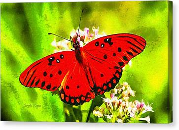 Brown Canvas Print - Red Butterfly by Leonardo Digenio