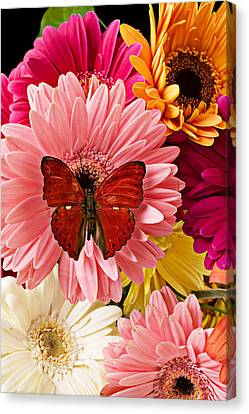 Red Butterfly On Bunch Of Flowers Canvas Print
