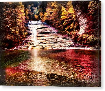Red Buttermilk Falls New York Autumn Canvas Print by Robert Gaines